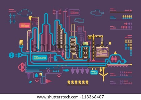 Colorful panorama city, vector background, city info graphics - stock vector