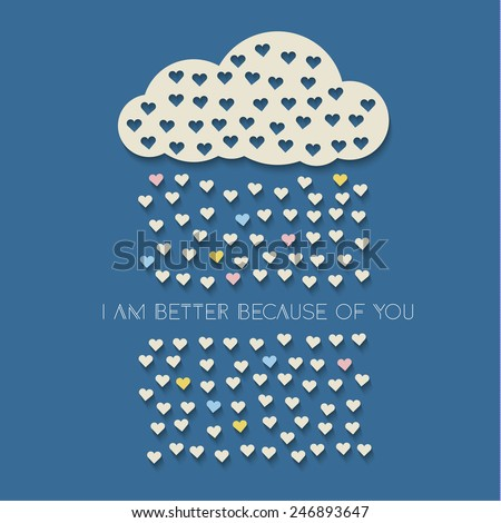 Colorful paper hearts from paper cloud with drop shadows on dark blue background. Vector illustration - stock vector