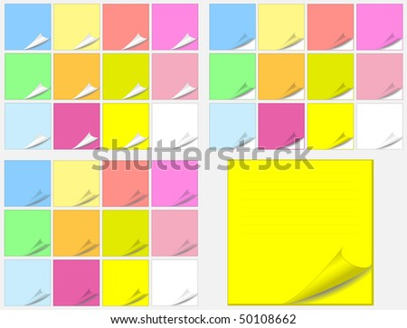 Colorful paper pads stickers - stock vector