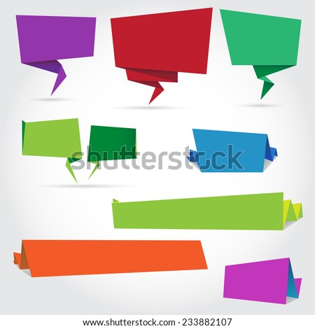 colorful paper speech bubbles and banners. vector illustration - stock vector