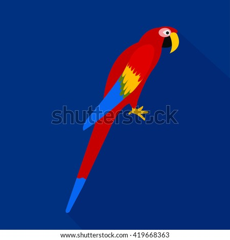 Colorful parrot cartoon flat icon. Brazil. Vector illustration. - stock vector