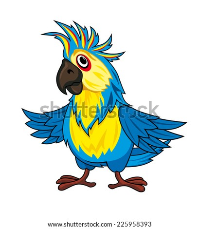 Colorful parrot in cartoon style. Vector illustration - stock vector
