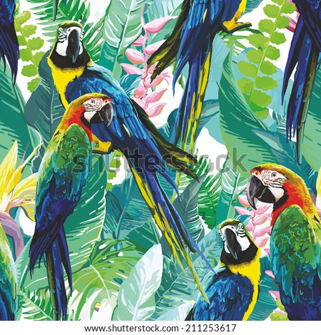 colorful parrots and exotic flowers - stock vector
