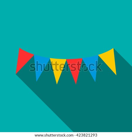 Colorful party flags icon, flat style - stock vector
