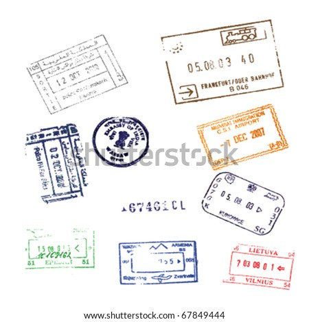 Colorful passport stamps background for your design Passport Stamps - stock vector