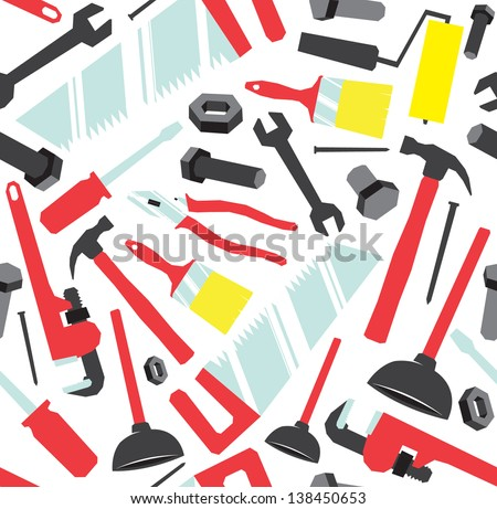 Colorful pattern made of tools found around the house - stock vector