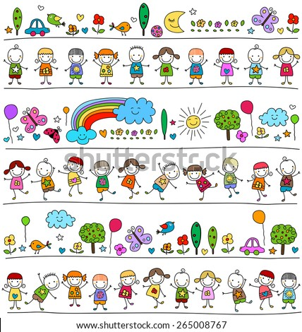 colorful pattern with children and cute nature elements, child like drawing style - stock vector