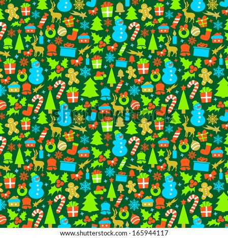 Colorful Pattern with Christmas Elements  - stock vector