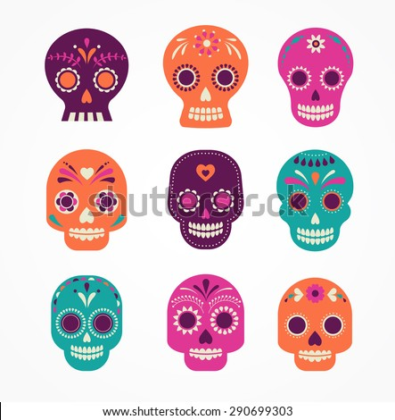 colorful patterned skull set, Mexican day of the dead - stock vector