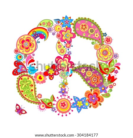 Colorful peace flower symbol with paisley - stock vector