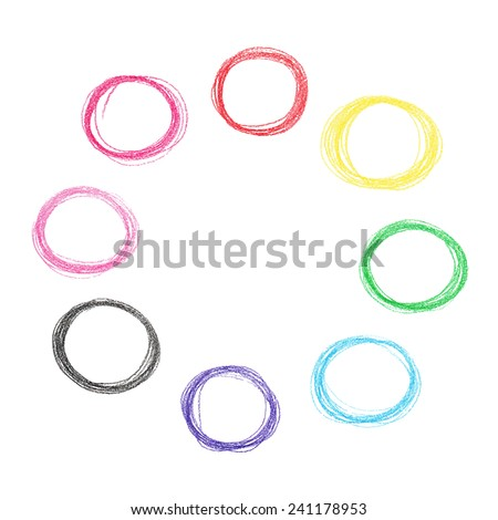 Colorful pencil circles set - stock vector