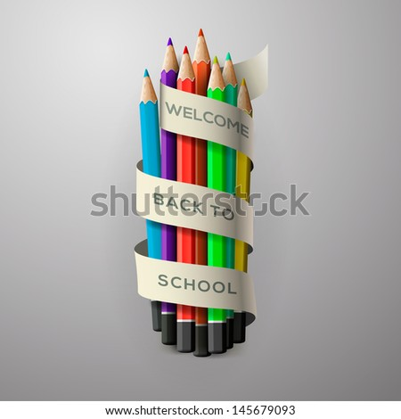 Colorful pencil crayons with text Back to school on ribbon, vector illustration.  - stock vector