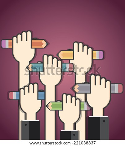 Colorful pencils in peoples hands - stock vector
