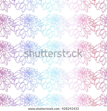 Colorful peony decor seamless pattern. Vector illustration for your design - stock vector