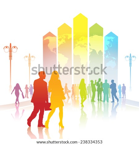 Colorful people are going to a large chart with world map. - stock vector