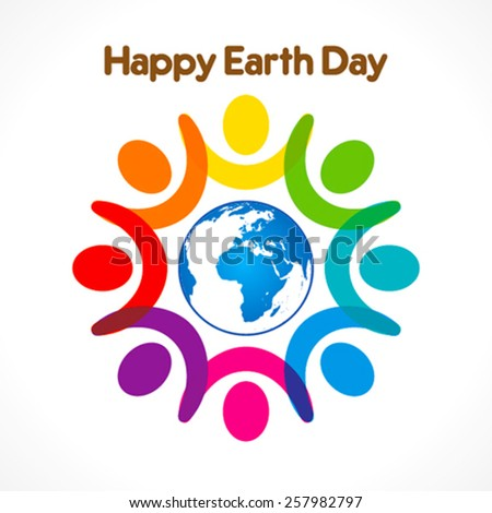 colorful people celebrate happy earth day  design vector - stock vector