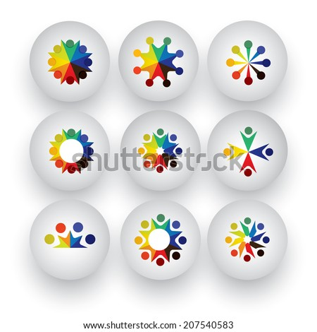 colorful people, children, employees icons collection set - vector graphic. This illustration also represents love, unity, solidarity, alliance, union, teamwork, organization, together, group, team - stock vector