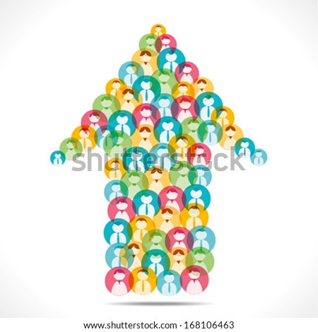 colorful people icon design arrow shape background vector - stock vector