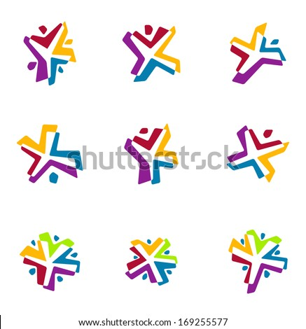 Colorful people vector logo template. Design icon set. You can use in the dance, yoga ,sport , part, game, kids, love and other organization concept of pattern. - stock vector