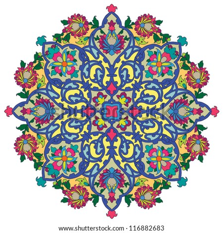 Colorful persian ornament - stock vector