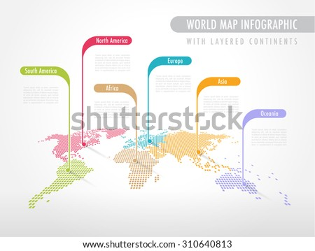 Colorful Perspective Pixelated World Map with Labels pointing each Continent - stock vector