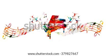 Colorful piano design. Music background - stock vector