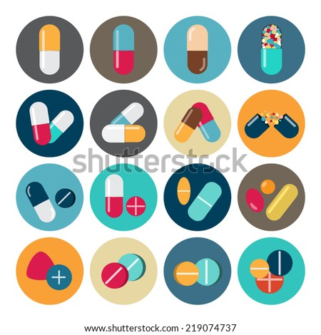 Colorful pills and capsules icon - stock vector