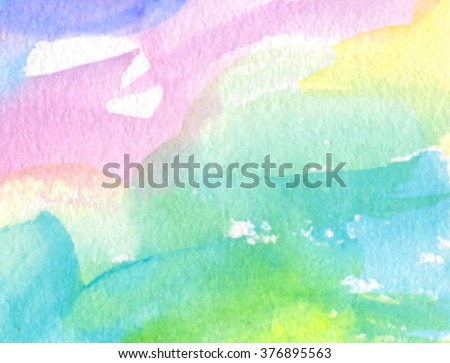 Colorful pink yellow green blue white violet watercolor hand draw paper texture decorative vector banner, Abstract wet brush paint wave card for greeting, invitation, template, print, wallpaper, web - stock vector