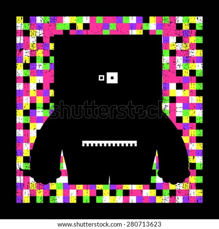 Colorful pixel monster on grunge background. Vector illustration - stock vector