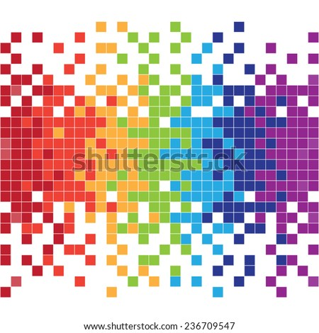 Colorful pixels - stock vector