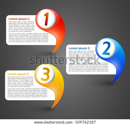 Colorful Pointers with text field - stock vector