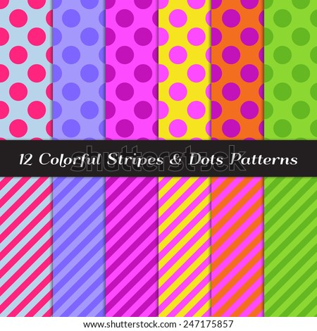 Colorful Polka Dots and Candy Stripes Patterns. Perfect for Children Related Illustration Backgrounds and Birthday Party Decoration. Vector EPS Includes Pattern Swatches Made with Global Colors.  - stock vector