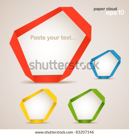 Colorful polygonal origami clouds. Place your text here - stock vector