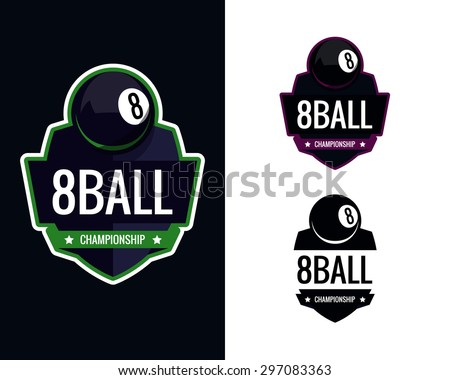 Colorful pool billiards logo labels. Vector illustration. - stock vector