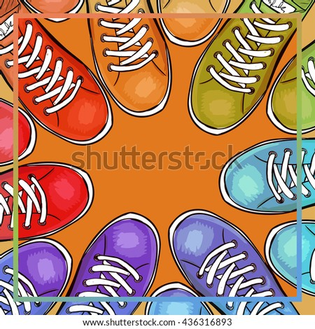 Colorful poster with athletic shoes with space for text. Advertising sport sneakers. Vector illustration - stock vector