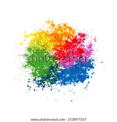 Colorful powder paint. Holi festival background. Traditional indian holiday vector.  - stock vector