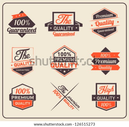 Colorful Premium Quality and Guarantee Label Collection - stock vector