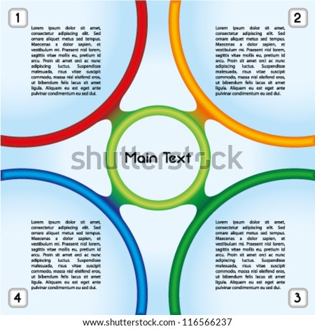 Colorful presentation template with four main text boxes and an oval central element - stock vector