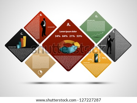 Colorful presentation with silhouettes - stock vector