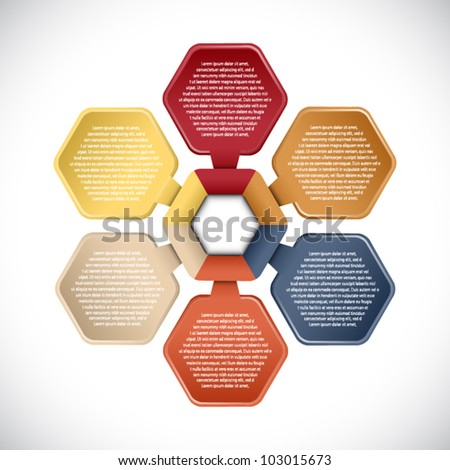 Colorful presentations with six text box - stock vector