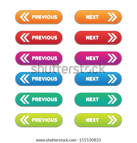 Colorful Previous and Next Buttons - stock vector