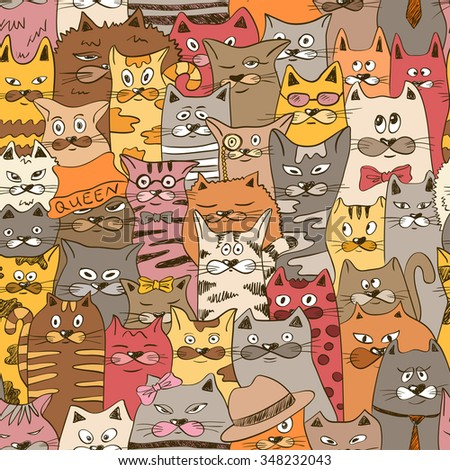 Colorful psychedelic seamless pattern with funny cats. Abstract graphic background. - stock vector