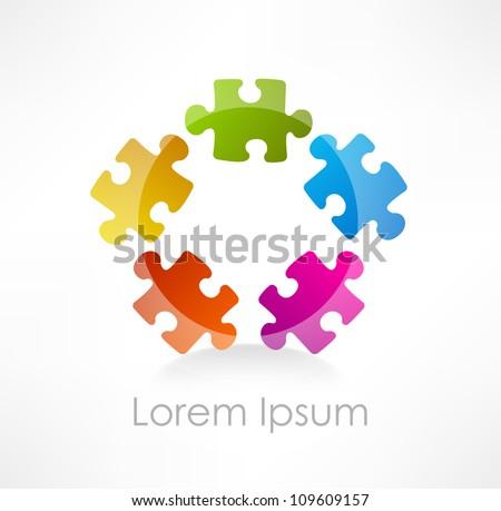 Colorful puzzle piece vector icon - stock vector
