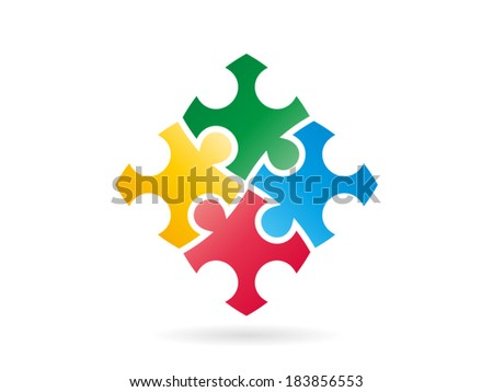 Colorful puzzle pieces forming a whole square in movement vector graphic illustration template isolated on white background - stock vector