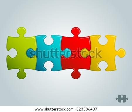 colorful puzzle pieces horizontal line vector illustration - stock vector