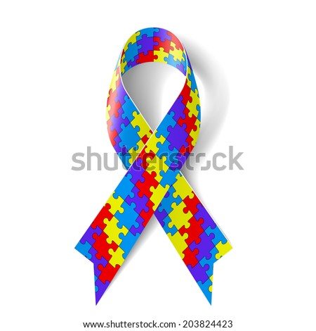 Colorful puzzle ribbon as symbol autism awareness - stock vector