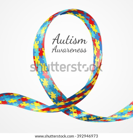 Colorful puzzle ribbon as the symbol for autism awareness - stock vector