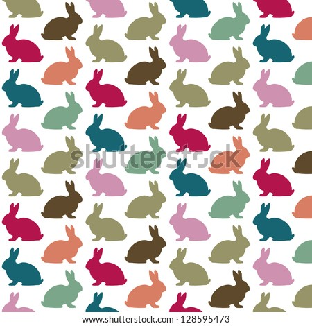 Colorful rabbit pattern - stock vector