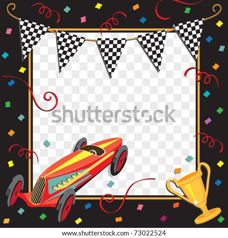 Colorful race car  or soap box derby party invitation with copy space - stock vector