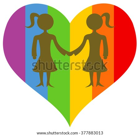 Colorful rainbow heart with silhouette of couple of two homosexual women - stock vector